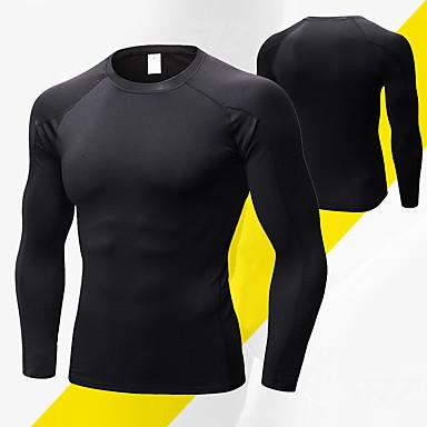 男性用 クルーネック ランニングTシャツ 純色 エラステイン ヨガ ランニング フィットネス ベース層 長袖 アクティブウェア 高通気性 速乾性 ビデオ圧縮 モイスチャーコントロール 高弾性 スリム