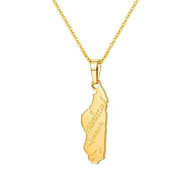 お買い得  ファッションネックレス-女性用 ペンダントネックレス クラシック 地図 レディース クラシック ファッション 銅 ゴールド 55 cm ネックレス ジュエリー 1個 用途 贈り物 日常