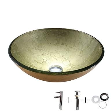 Kupaonica Sudoper / Kupaonica pipa / Kupaonica Montaža Ring Suvremena - Kaljeno staklo Krug Vessel Sink