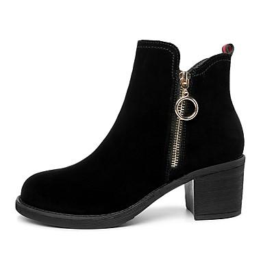 Dame Læder sko Ruskind Efterår vinter Støvler Kraftige Hæle Rund Tå Ankelstøvler Sort
