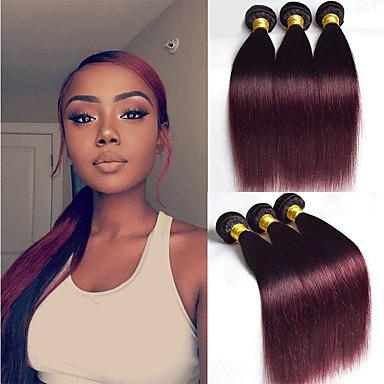 billige Fargede hairextensions-3 pakker Brasiliansk hår Rett 10A Remy Menneskehår Hairextensions med menneskehår 10-26 tommers Naturlig Hårvever med menneskehår Myk Beste kvalitet Ny ankomst Hairextensions med menneskehår Dame