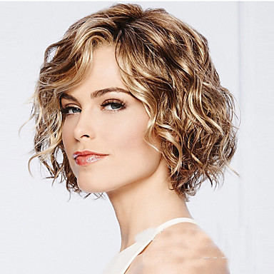 cheap Synthetic Lace Wigs-Synthetic Wig Water Wave Style Bob Capless Wig Golden Light Blonde Synthetic Hair 12INCH Women's Adjustable / Heat Resistant / Classic Golden Wig Short Cosplay Wig / Yes