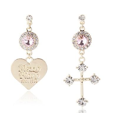 87452dd2a5ab Mujer Circonita Largo Pendientes sin combinar Brillante Aretes Cruz Corazón  damas Artístico Clásico Joyas Dorado
