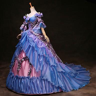 Cinderella Princeza Victoria Style Rococo Haljine Izgledi Kostim za party Povorka maski Žene Kostim Duga Vintage Cosplay Party Prom 3/4 rukava