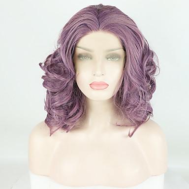 Lănțișoare frontale din sintetice Stil Ondulat / Deep Curly Stil Partea gratuită Față din Dantelă Perucă Violet Violet Păr Sintetic 14 inch Pentru femei Design Modern / Moale / Ajustabil Violet Perucă