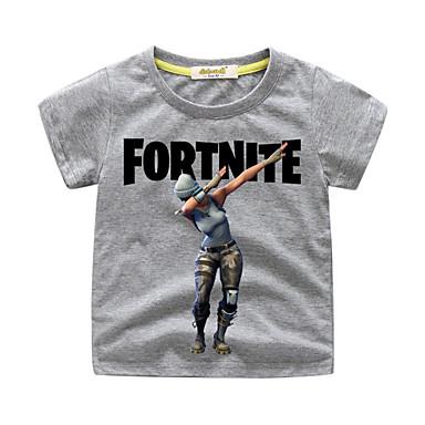 baratos Camisas para Meninos-Infantil Bébé Para Meninos Básico Estampado Manga Curta Padrão Camiseta Cinzento