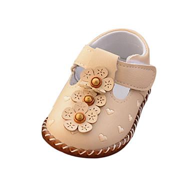 voordelige Babyschoenentjes-Meisjes Comfortabel / Eerste schoentjes PU Platte schoenen Peuter (9m-4ys) Gesp / Bloem / Magic tape Beige / Roze Lente & Herfst / Rubber
