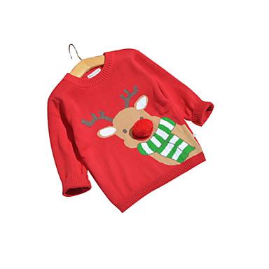 baratos Suéteres & Cardigans para Meninos-Infantil Bébé Para Meninos Básico Natal Geométrica Manga Longa Padrão Suéter & Cardigan Vermelho