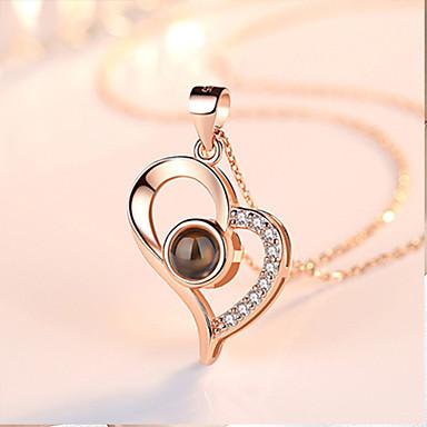 72ebf23a0e0f Mujer Cristal No coincidente Collares con colgantes Charm Necklace Plata de  ley Corazón Letra te amo damas Colgante Clásico Moda Bonito Corazón Plata  Oro ...