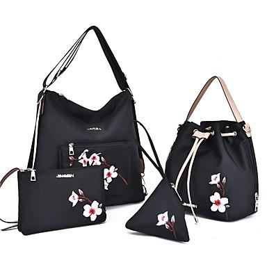 1134c88b86 Γυναικεία Τσάντες Νάιλον Σετ τσάντα 4 σετ Σετ τσαντών Κέντημα   Φερμουάρ  Κεντήματα Μαύρο   Ρουμπίνι   Βυσσινί