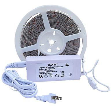 billige LED Strip Lamper-JIAWEN 5 m RGB-lysstriper 300 LED 5050 SMD RGB Vanntett / Kuttbar 100-240 V 1set / IP65
