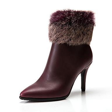 voordelige Dameslaarzen-Dames Laarzen Naaldhak Gepuntte Teen Imitatieleer Korte laarsjes / Enkellaarsjes minimalisme Herfst winter Zwart / Bruin