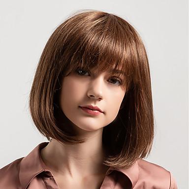 Ljudski kose bez kaplama Ljudska kosa Prirodno ravno Bob frizura / Stražnji dio / Kratke frizure 2019 Stil Novi Dolazak / Prirodna linija za kosu Smeđa Srednja dužina Capless Perika Žene