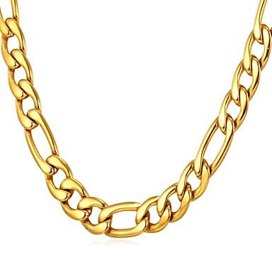 voordelige Zilveren Ketting-Heren Kettingen Figaro Ketting Box Chain Modieus Dubai Hip Hop Roestvast staal Goud Zwart Zilver 55 cm Kettingen Sieraden 1pc Voor Lahja Dagelijks