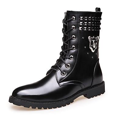 Erkek Ayakkabı PU Kış Oxford Modeli Yarı-Diz Boyu Çizmeler Günlük için Siyah