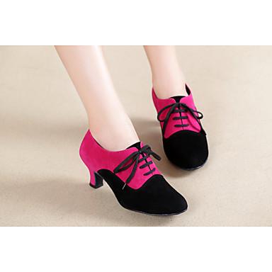 baratos Shall We® Sapatos de Dança-Mulheres Camurça Sapatos de Jazz MiniSpot Salto Salto Cubano Personalizável Rosa claro / Preto / Vermelho / Khaki / Espetáculo
