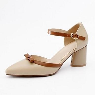 رخيصةأون صنادل نسائية-نسائي Leather نابا الربيع حلو / شيوع صنادل كعب متوسط أمام الحذاء على شكل دائري أسود / اللوز / بني فاتح