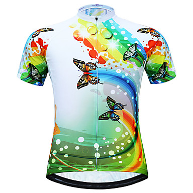 JESOCYCLING Women's Short Sleeve Cycling Jersey Light Green Butterfly Plus Size Bike Jersey Top Breathable Quick Dry Back Pocket Sports Polyester Mountain Bike MTB Road Bike Cycling Clothing Apparel