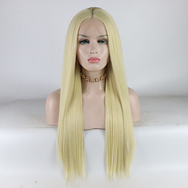 Syntetisk Lace Front Parykker Lige Stil Mellemdel Blonde Front Paryk Gyldent Lys Gylden Syntetisk hår 18-26 inch Dame Justerbar / Blonde / Varme resistent Gyldent Paryk Lang 180% Menneskelige hår