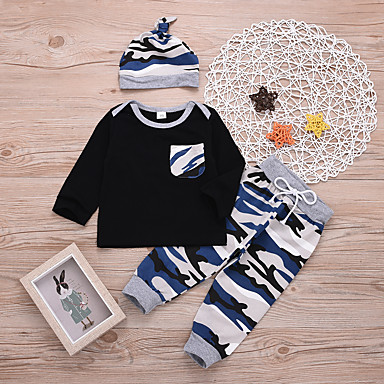 3f5dd8ae26336 Baby Boys' Active / Punk & Gothic Holiday / Beach Blue & White Patchwork  Print Long Sleeve Regular Regular Cotton Clothing Set Black / Toddler