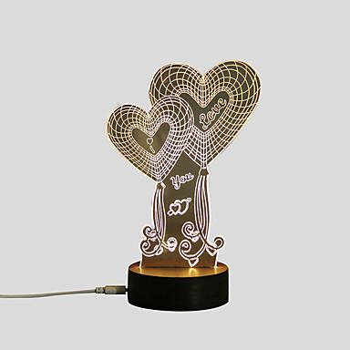 1set Heart Shape LED éjszakai fény / 3D éjszakai fény Meleg fehér USB Kreatív / Biztonság / Díszítmény 5 V Művészi / LED