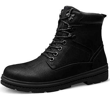 Herre Snøstøvler Lær Høst vinter Vintage / Fritid Støvler Hold Varm Støvletter Svart