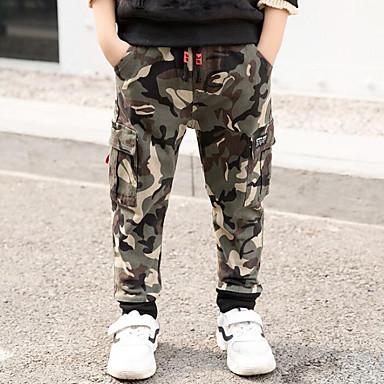 baratos Jeans Para Meninos-Infantil Para Meninos Moda de Rua Diário Para Noite Estampado Retalhos Patchwork Estampado Jeans Verde Tropa