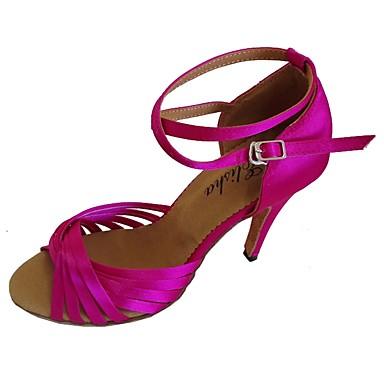 abordables Meilleures Ventes-Femme Chaussures de danse Satin Chaussures Latines Talon Talon Bobine Personnalisables Rose / Bleu marine / Amande / EU38