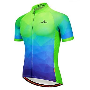Miloto Men s Short Sleeve Cycling Jersey - Green   Yellow Bike Jersey  Reflective Strips Back Pocket 10fe5db0b
