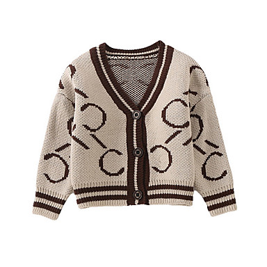 baratos Suéteres & Cardigans para Meninas-Infantil Para Meninas Moda de Rua Geométrica Manga Longa Padrão Suéter & Cardigan Marron