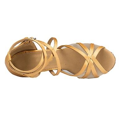 baratos Sapatos de Dança-Mulheres Sapatos de Dança Cetim Sapatos de Dança Latina Salto Salto Carretel Personalizável Dourado / Bege / EU40