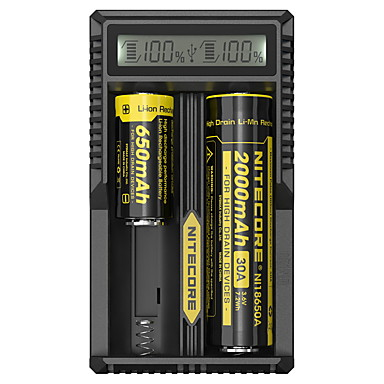 abordables Lampes & Lanternes de Camping-Nitecore UM20 Chargeur de batterie Émetteurs Elégant USB LCD Camping / Randonnée / Spéléologie Noir