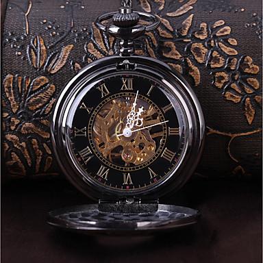 6f02cc0a9cbc Hombre Reloj Esqueleto Reloj de Bolsillo Cuerda Manual Negro Reloj Casual  Cool Analógico Vintage Casual Steampunk - Negro