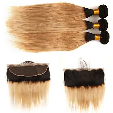 baratos Extensões de Cabelo Natural-3 pacotes com fechamento Cabelo Brasileiro Liso Cabelo Natural Remy Extensões de Cabelo Natural Trama do cabelo com Encerramento 10-24 polegada Tramas de cabelo humano Design Moderno Macio Melhor