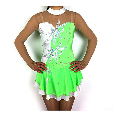 Vestito Da Pattinaggio Artistico Per Donna Da Ragazza Pattinaggio Sul Ghiaccio Vestiti Verde Collage Elastene Filati Elastici Elevata Elasticità Competizione Vestiti Da Pattinaggio Sul Ghiaccio #07074197