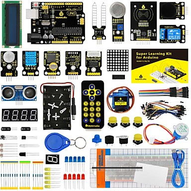 voordelige Elektrische apparatuur & benodigdheden-keyestudio super starter kit / learning kit (uno r3) voor arduino starter kit met 32 projecten 1602 lcd