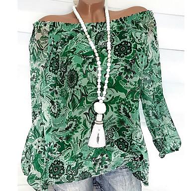 ราคาถูก สินค้ามาใหม่-สำหรับผู้หญิง ขนาดพิเศษ เสื้อสตรี พื้นฐาน ระบาย / รูปแบบลายดอกไม้ / ลายพิมพ์ ไหล่ตก ลายดอกไม้ / แฟชั่น ส้ม XXXL