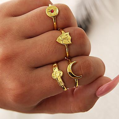billige Motering-Dame Ring Set / Midi Ring / Multi-fingerring Kubisk Zirkonium 4stk Gull Strass / Legering C-form damer / Enkel / Unikt design Gave / Daglig / Aftenselskap Kostyme smykker