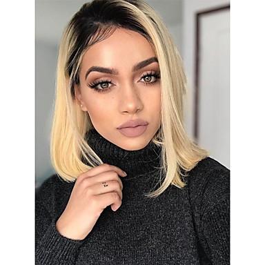 Virgin Saç Ön Dantel Peruk Bob Saç Kesimi EMMA stil Düz Brezilya Saçı İpeksi Düz Sarışın Peruk % 150 Saç yoğunluğu Isı Dirençli Havalı Klipsli tutkalsız Sarışın Kadın's Orta Uzunluk Gerçek Saç Örme