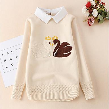 baratos Suéteres & Cardigans para Meninas-Infantil Para Meninas Moda de Rua Estampado Manga Longa Padrão Suéter & Cardigan Azul