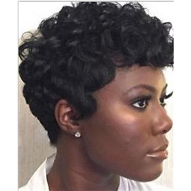 Virgin kosa Remy kosa Full Lace Perika Stepenasta frizura Kratak Bob stil Brazilska kosa Kovrčav Silky Straight Natural Perika 130% Gustoća kose Nježno Prirodno Prirodna linija za kosu Afro-američka