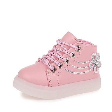 voordelige Kind 'Schoenen-Meisjes PU / Synthetisch Sneakers Peuter (9m-4ys) / Little Kids (4-7ys) Comfortabel Strass / Veters Zwart / Rood / Roze Herfst winter / Polyester rubber