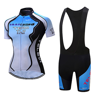 a94a99f1b TELEYI Women s Short Sleeve Cycling Jersey with Bib Shorts - White   Black  Bike Clothing Suit