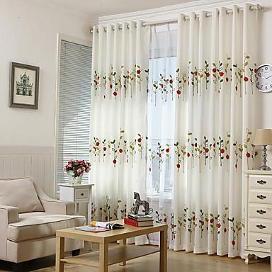 Indipendente Paese Vita Privata Due Pannelli Sala Studio - Ufficio Curtains - Ricami #07130812 Pregevole Fattura