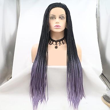 Χαμηλού Κόστους Συνθετικές περούκες με δαντέλα-Συνθετικές μπροστινές περούκες δαντέλας Πλεκτά Στυλ Κούρεμα με φιλάρισμα Δαντέλα Μπροστά Περούκα Μαύρο Μαύρο / μωβ Συνθετικά μαλλιά 24 inch Γυναικεία Γυναικεία Μαύρο / Μωβ Περούκα Μακρύ Sylvia 130