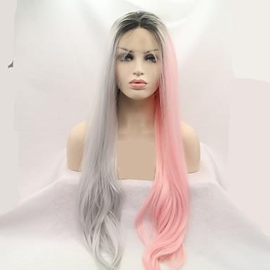 povoljno Perike i ekstenzije-Prednja perika od sintetičkog čipke Loose Curl Stil Stepenasta frizura Lace Front Perika Pink Pink / Grey Sintentička kosa 24 inch Žene Žene Pink Siva Perika Dug Sylvia
