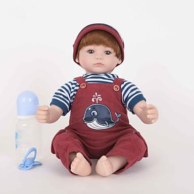 ราคาถูก Dolls-FeelWind Reborn Dolls เด็กผู้ชาย 18 inch ซิลิโคน ไวนิล - เหมือนจริง ทำด้วยมือ น่ารัก Child Safe เด็ก / วัยรุ่น Non Toxic เด็ก ทุกเพศ Toy ของขวัญ