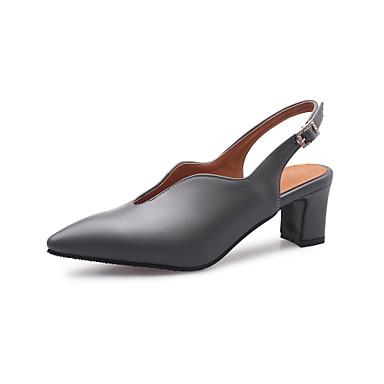 رخيصةأون صنادل نسائية-نسائي PU للربيع والصيف الأعمال التجارية صنادل كعب متوسط حذاء براس مدبب البيج / رمادي / اللوز