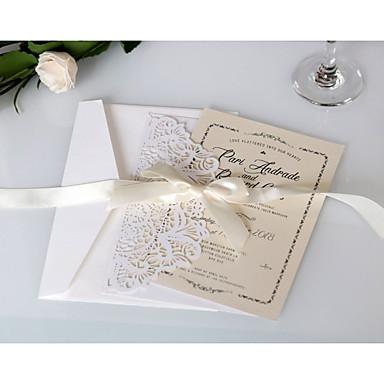 abordables Faire-part mariage-Pli Parallèle Vertical Faire-part mariage 20 - Cartes d'invitation Style artistique Papier pur