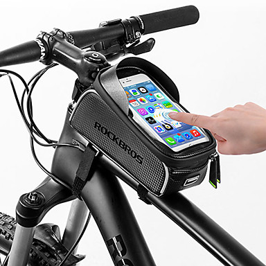 abordables Sacoches de Vélo-ROCKBROS Sac de téléphone portable Sac Cadre Velo 6 pouce Ecran tactile Réfléchissant Etanche Cyclisme pour Tous Téléphone Portable iPhone X iPhone XR Noir Vélo de Route Vélo tout terrain / VTT